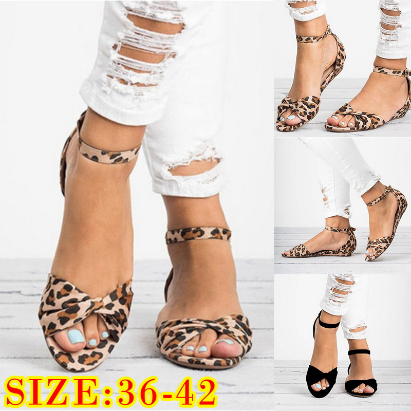 16439c86b Details about Women Leopard PU Leather Flat Sandals Fish Mouth Cross Strap Plus  Size Sandals