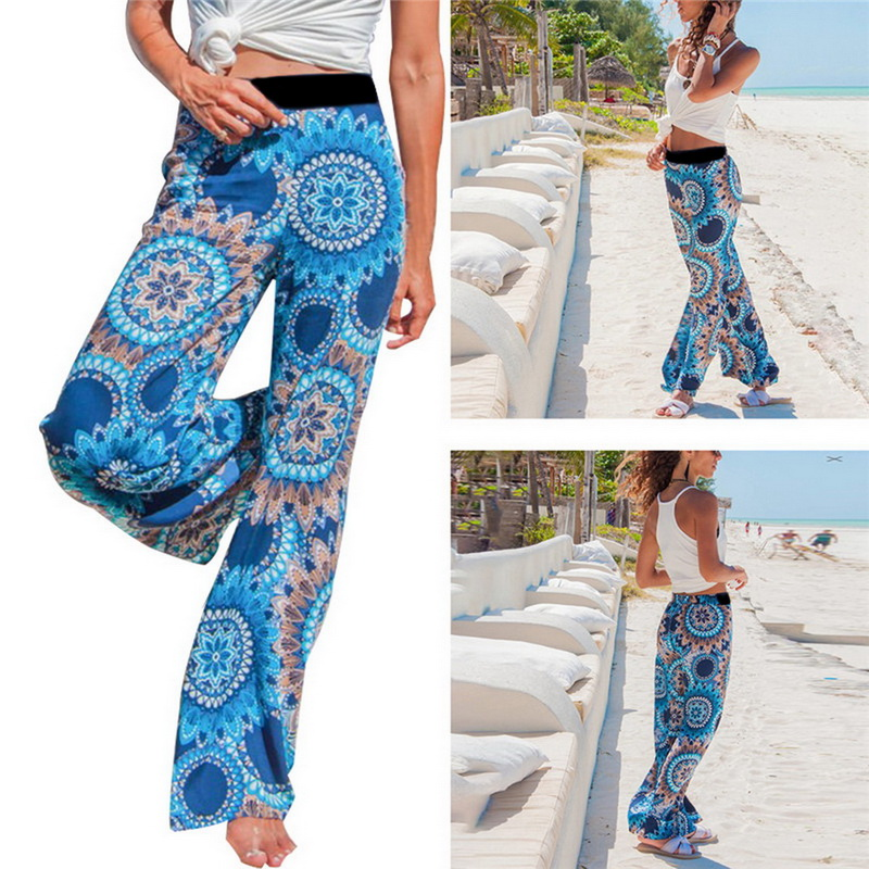 e7d4242081a7bd Summer Women Floral Loose Boho Wide Leg Long Pants Palazzo Trousers Yoga