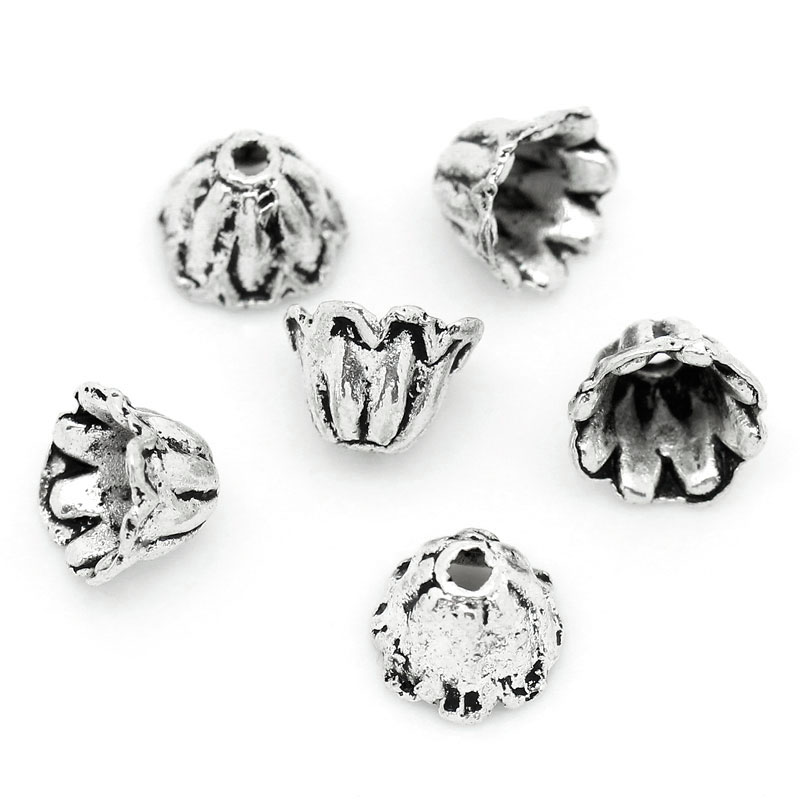 """300PCs Hot Silver Tone Flower Bead End Caps Findings 6mmx6mm 2//8/""""x 2//8/"""""""