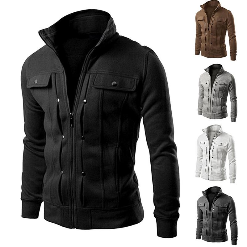 58f729542b4d Details about Casual Men s Solid Sweatshirt Stand Collar Jacket Zip-up Slim  Fit Coat Plus Size