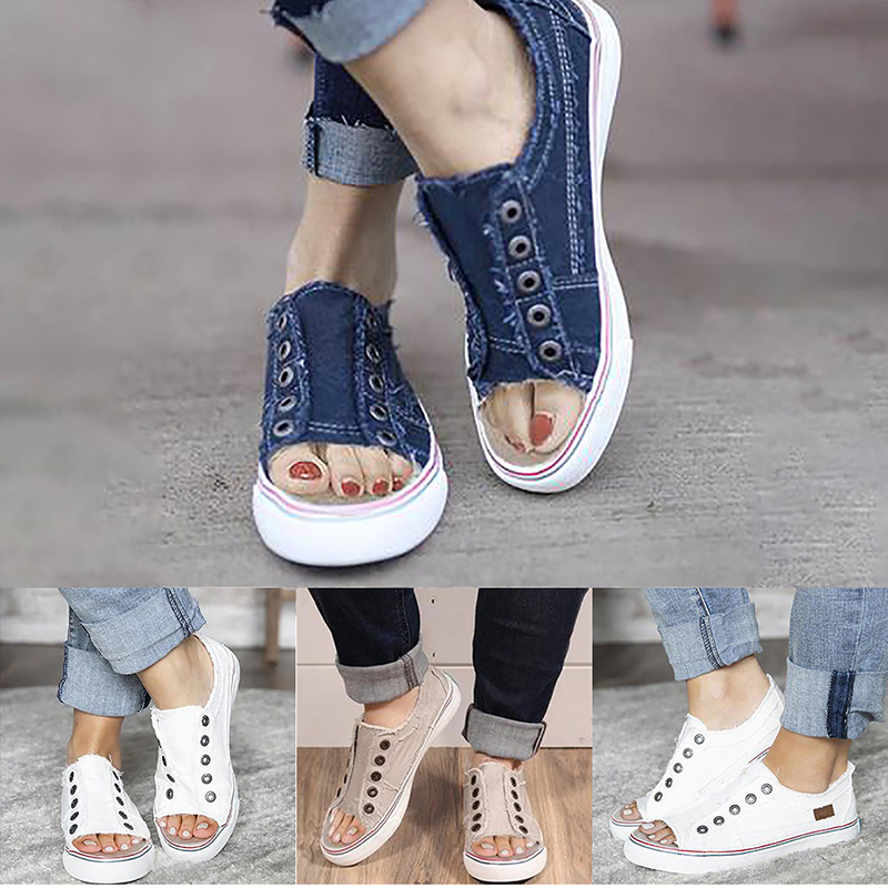 Women Flat Slip On Pumps Denim Canvas Trainers Sneakers Comfy Loafers