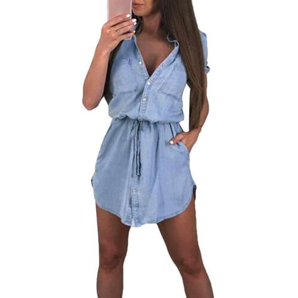 ca5dfc90ec Women's Short Sleeve Denim Mini Dress Ladies Button V Neck Summer Shirt  Dress