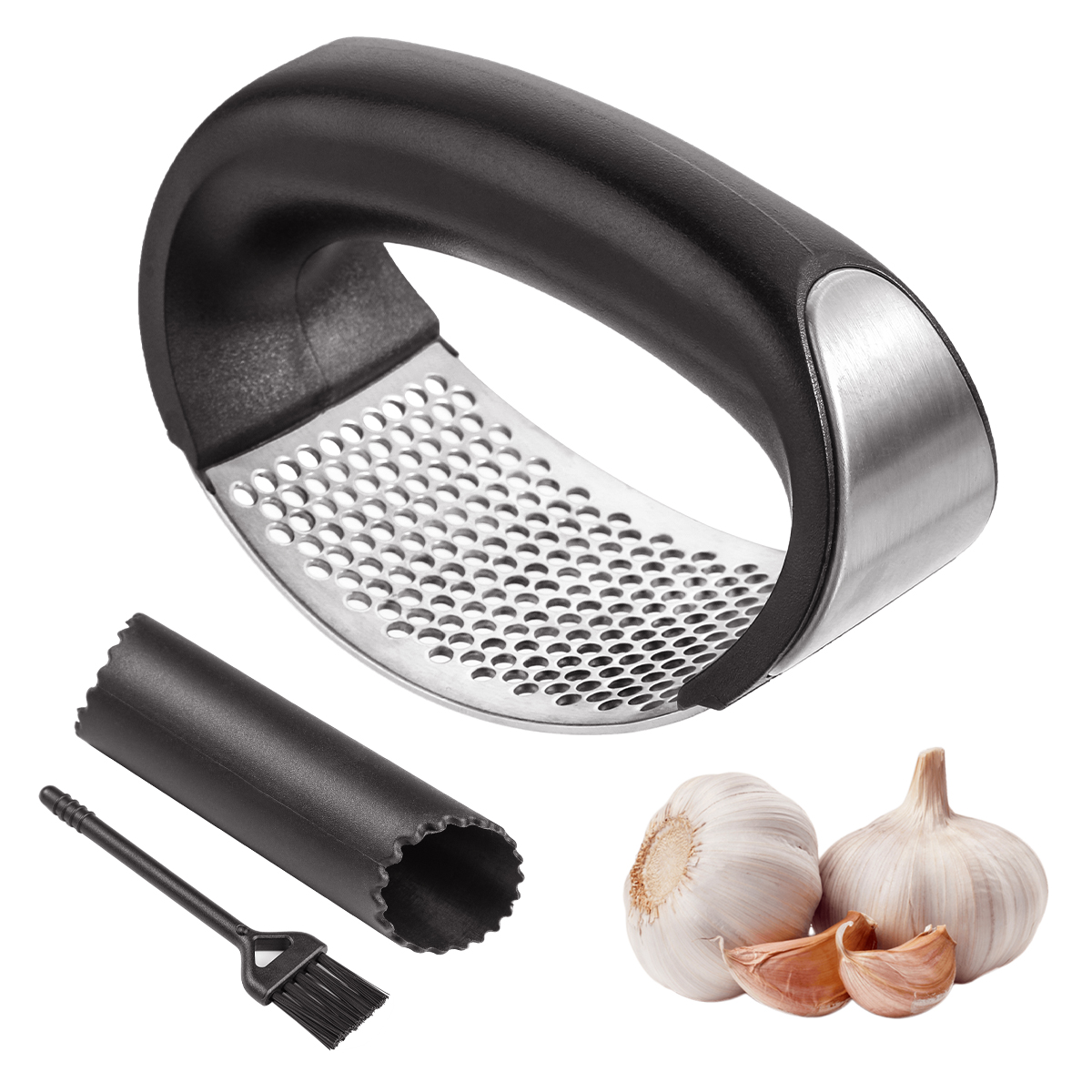 Garlic Press Rocker Stainless Steel Ginger Crusher Squeezer and Peeler Kitchen A