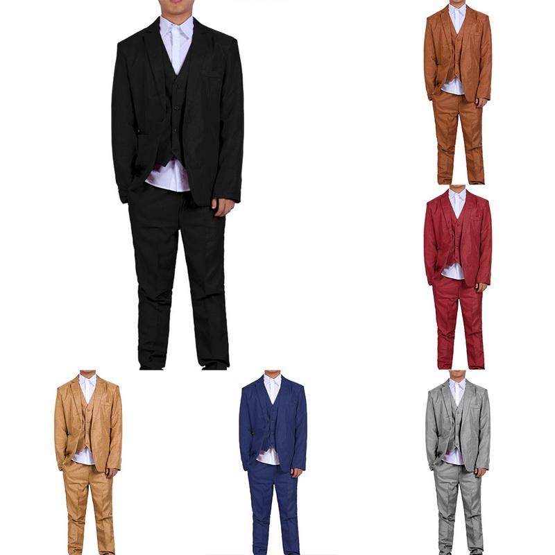 3tlg Herren Anzug Sakko Smoking Slim Hose Mantel Weste Business Hochzeit Mode JO