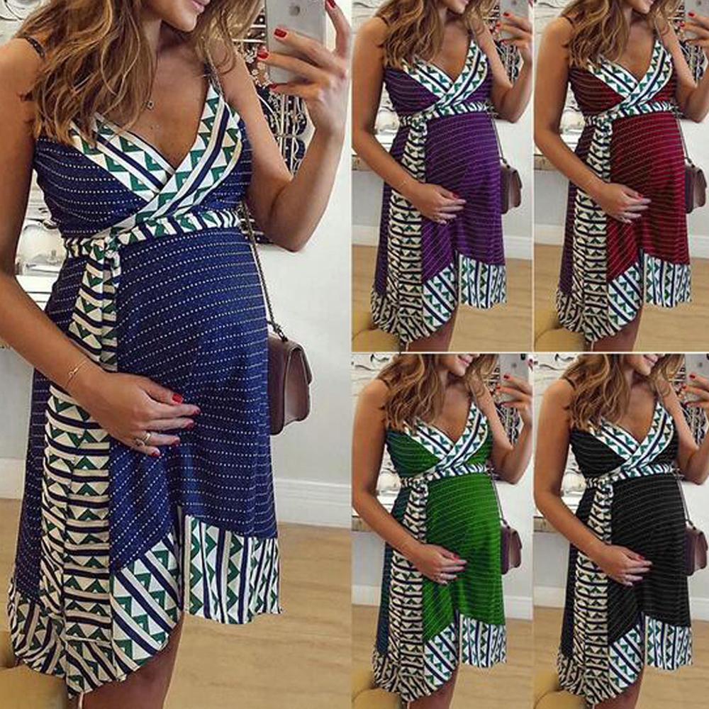 Damen Schwangere Umstandskleid Mutterschaft Schwangerschaftskleid Abendkleid