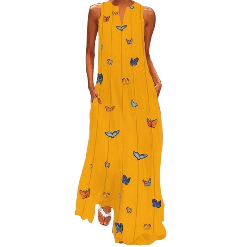 607e51f0d29eaf Damen V-Ausschnitt Maxikleid Boho Strandkleid Sommerkleid Party Urlaub  Kleider