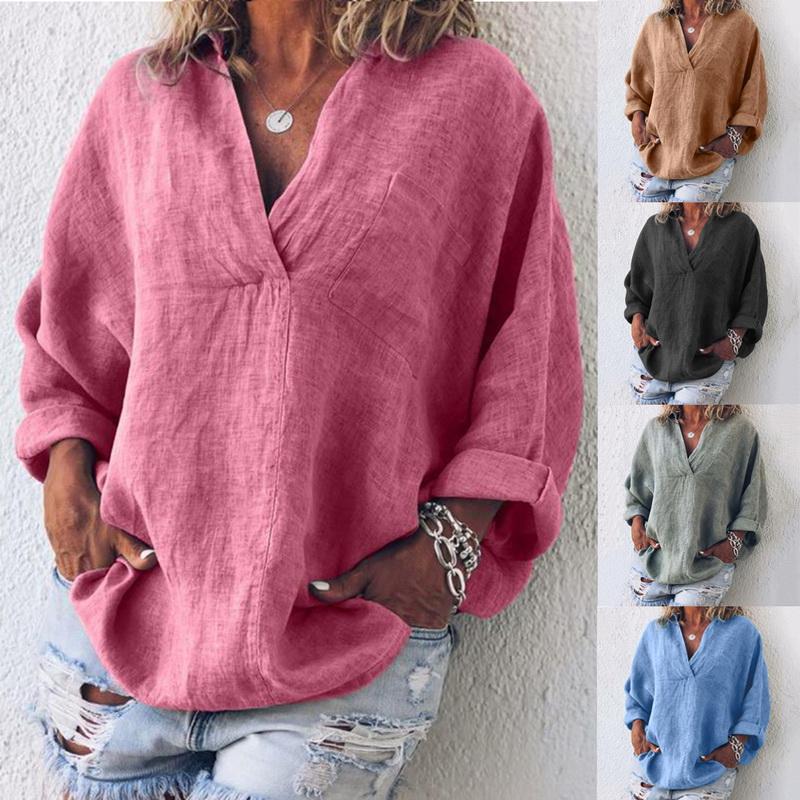 Damen Mode Vintage Lose Baumwolle Leinen Lässig Shirt Bluse Hemd Tops Oberteile