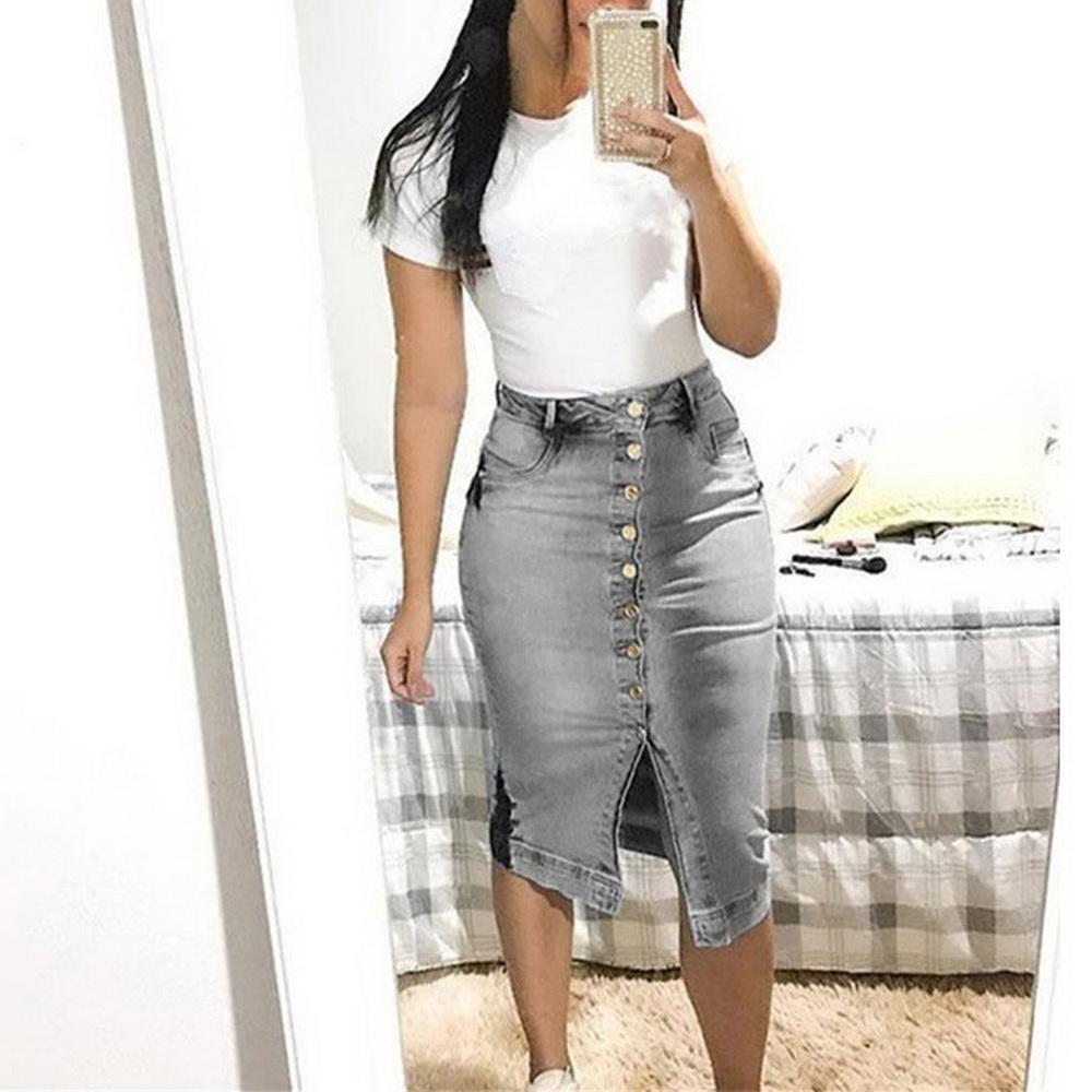 Details zu Frauen Denim Jeans Rock Hohe Taille Bleistift Bodycon Button Midi Kleid Röcke