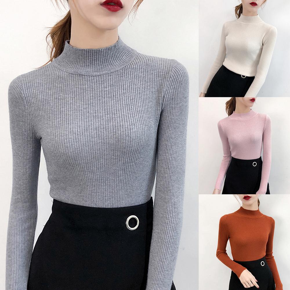 Damen Langarm Pullover Strickpullover Pulli Sweater Sweatshirt Jumper Bluse Tops