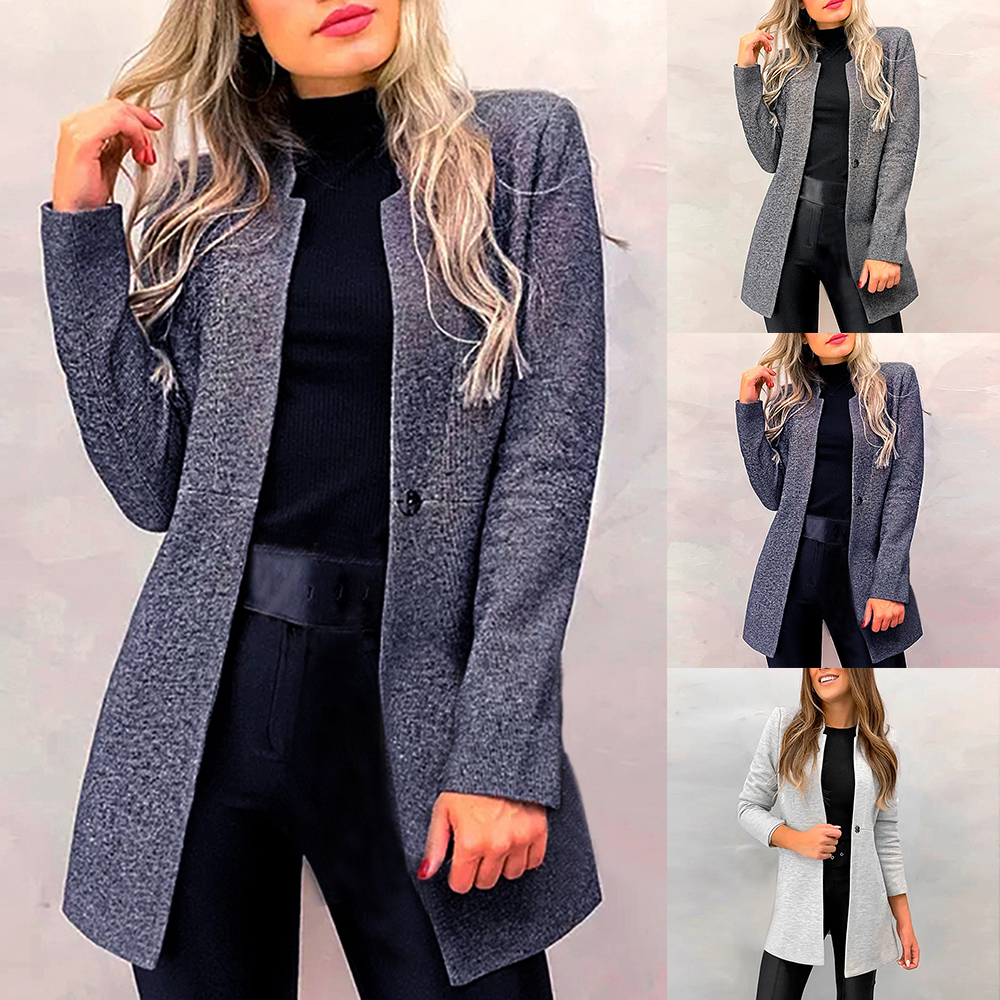 Damenjacke Mantel Blazer Übergangsjacke Wollmantel mit Fell Schwarz 34-38 #ES1